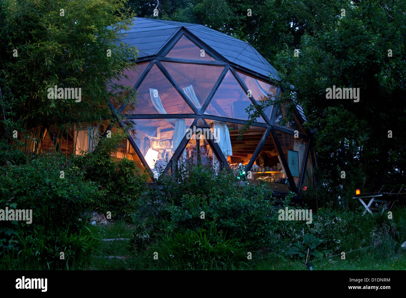 Geodesic Dome By Night In A Private Garden Stock Photo Royalty