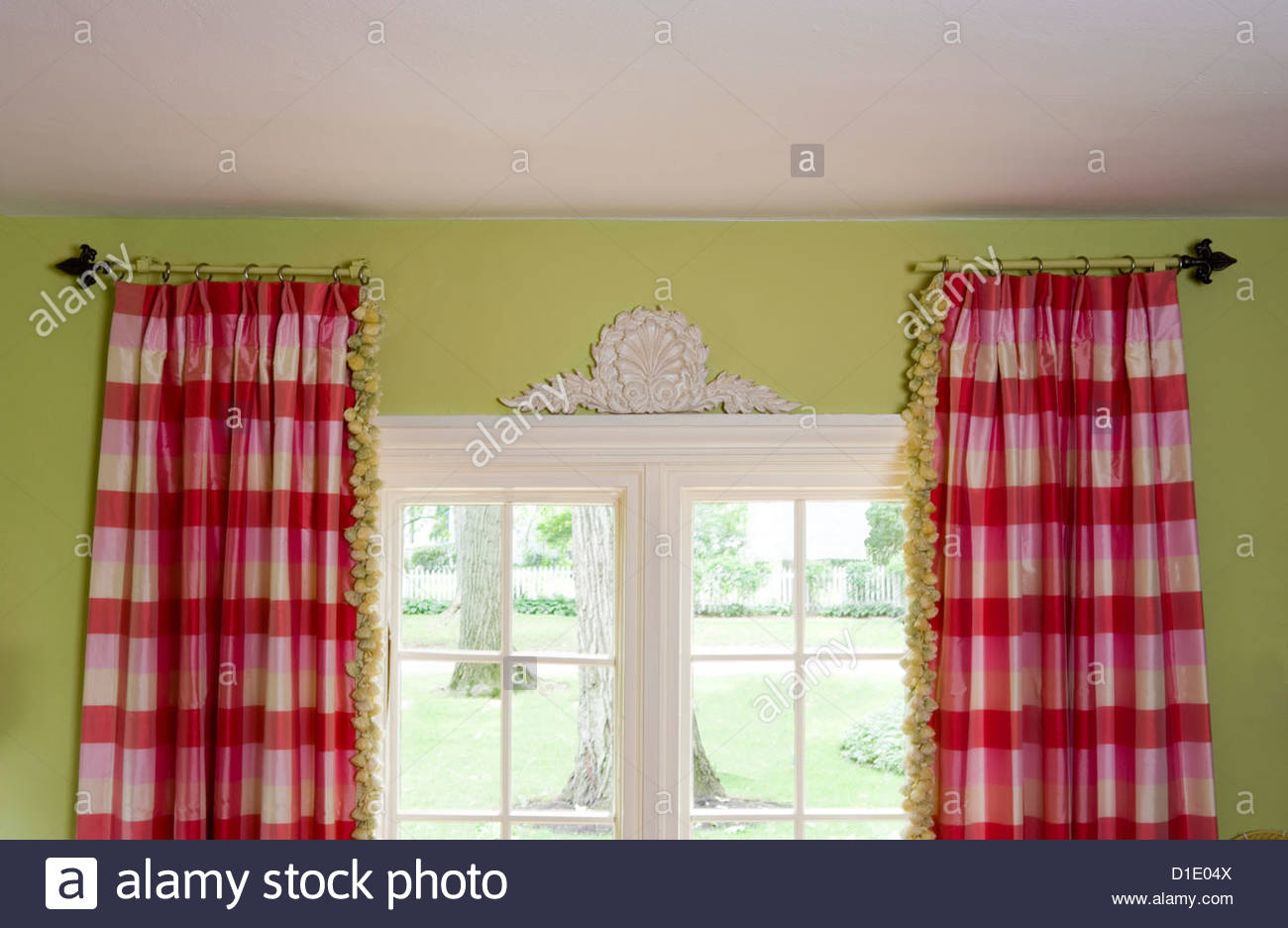 Black and white buffalo check curtains - Window Treatments Stationary Curtain Rods Hold Pink And White Buffalo Check Curtains With Green Tassel Trim