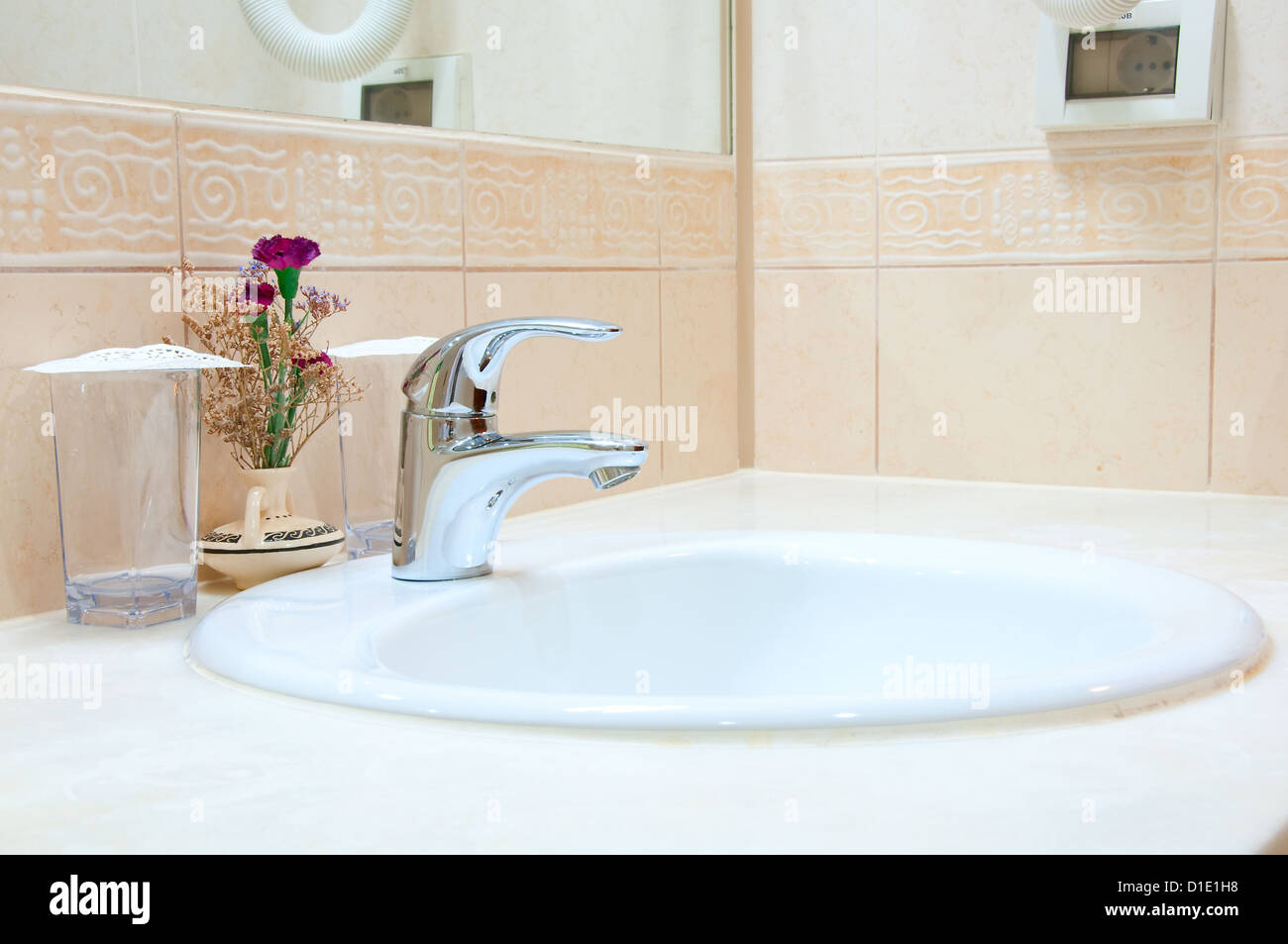 Hotel Bathroom: Sink, Tap And Glasses