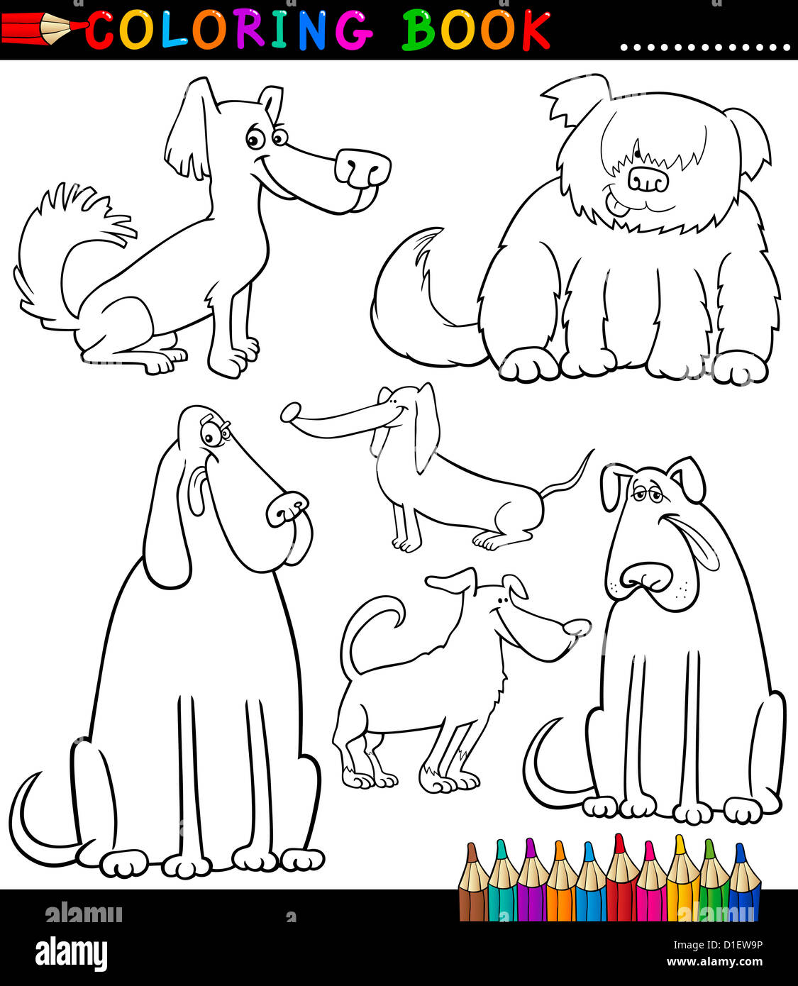 Elegant Coloring Book Or Coloring Page Black And White Cartoon Illustration Of  Funny Purebred Or Mongrel Dogs And Puppies