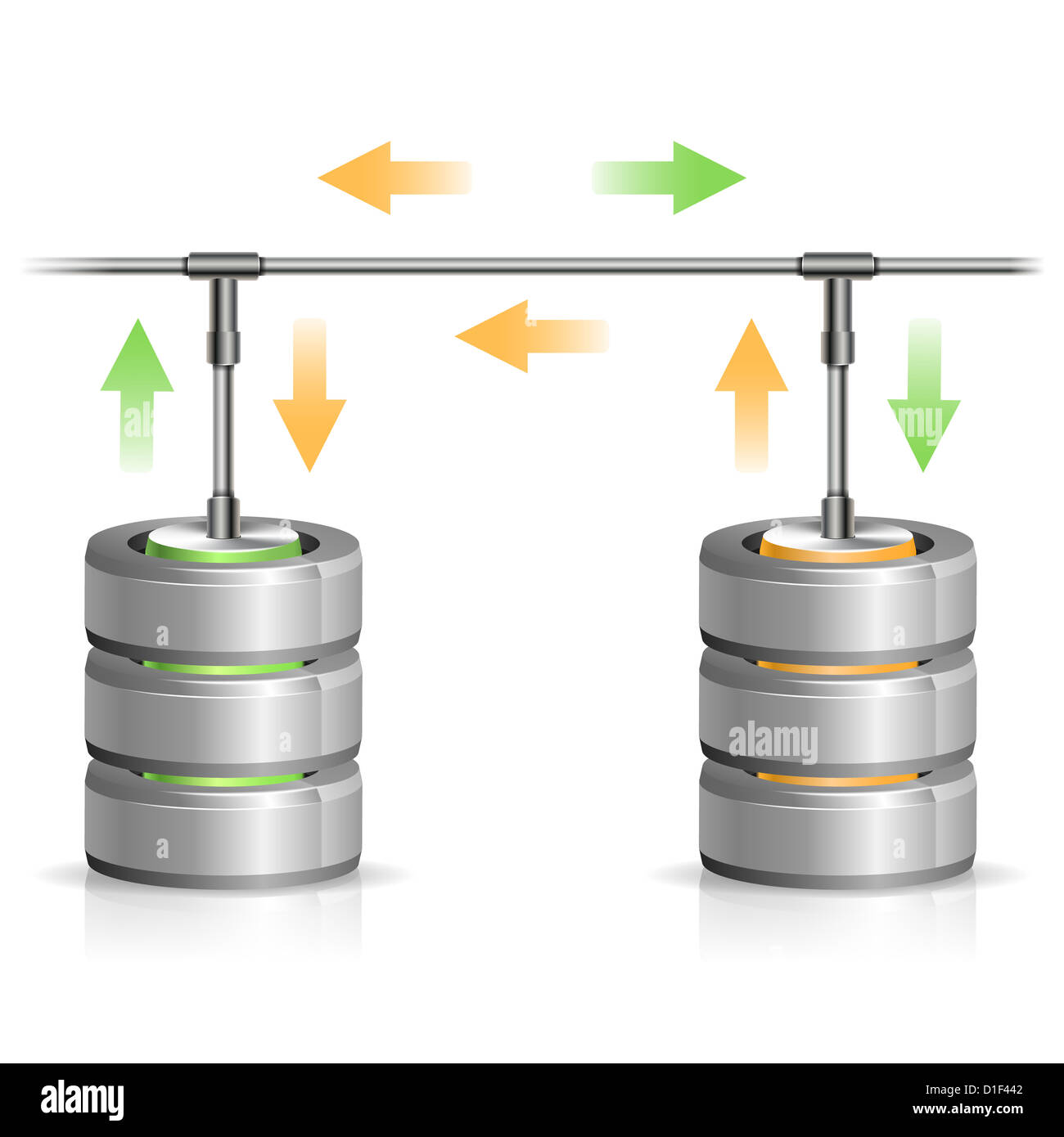 Concept Backup Database And Hard Disk Icon With Arrow, Isolated On ...