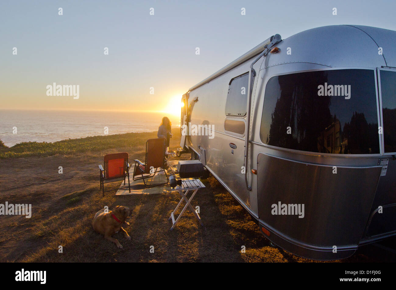 airstream camping northern california coast stock photo. Black Bedroom Furniture Sets. Home Design Ideas