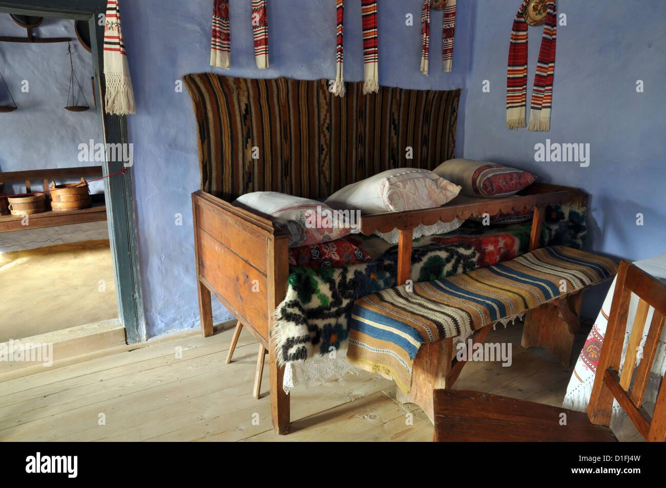 traditional romanian house interior in transylvania, romania stock