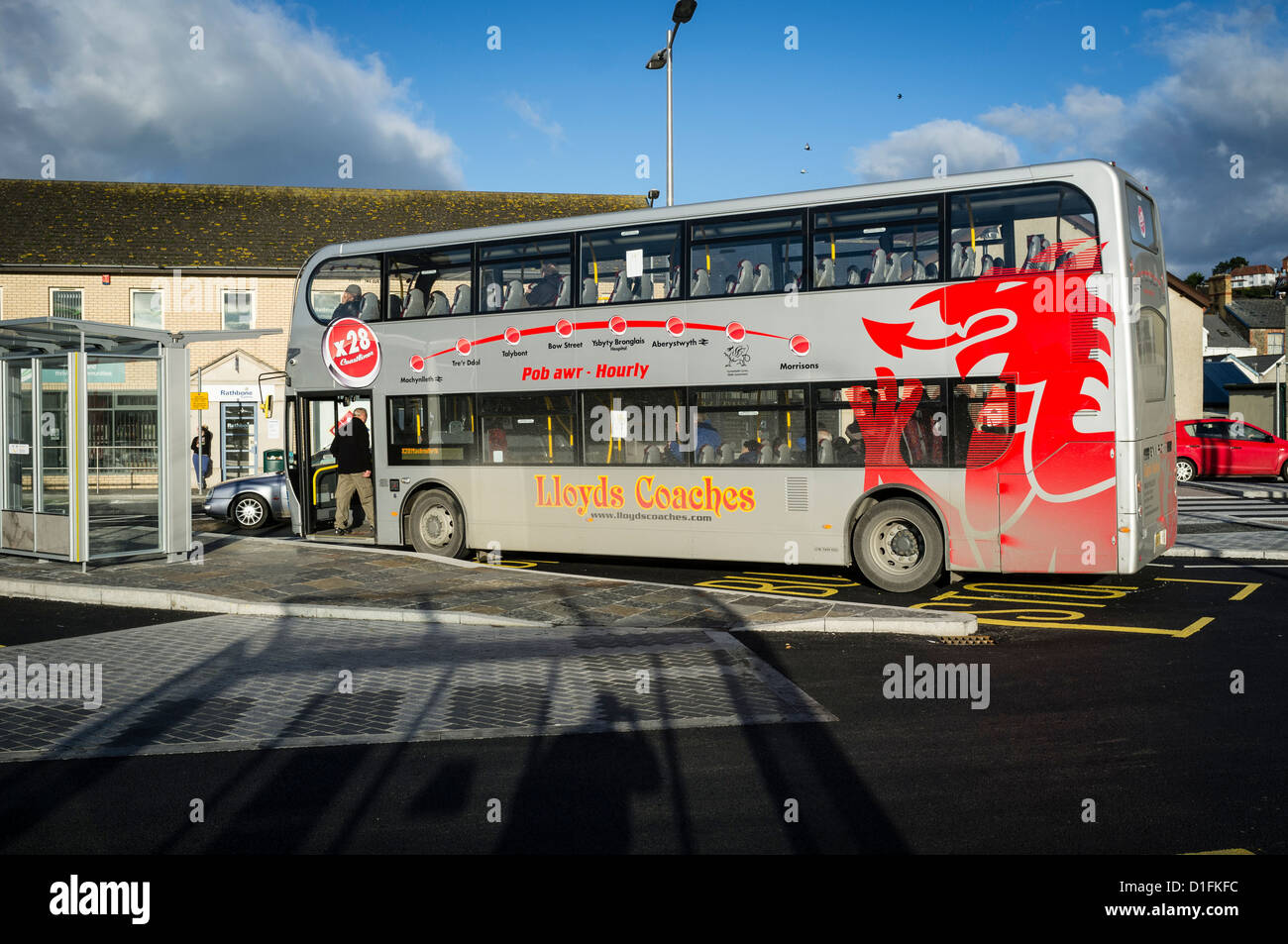 Stock Photo  The Lloyds Coaches X28 Double Decker Buy Service From  Aberystwyth Bus Station To Machynlleth, Wales Uk