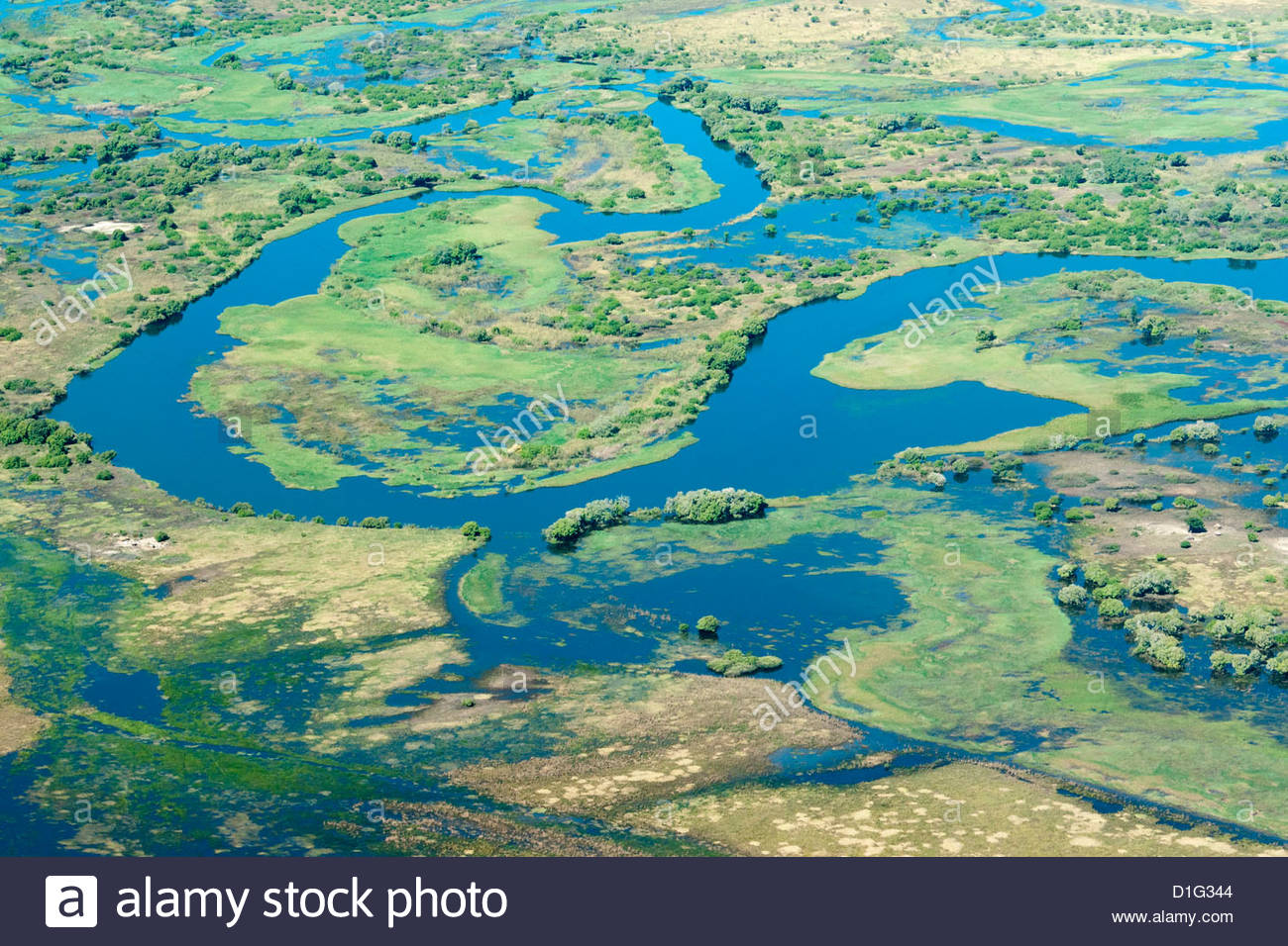 Aerial view of floodplains and islands along Zambezi and ...