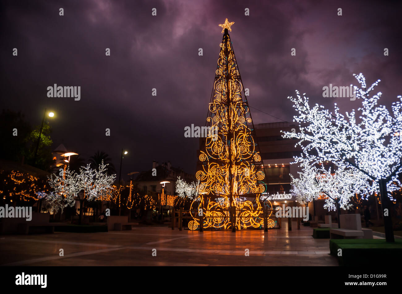 Decorations In Spain Christmas Decorations In Town Square In Fuengirola Spain Stock