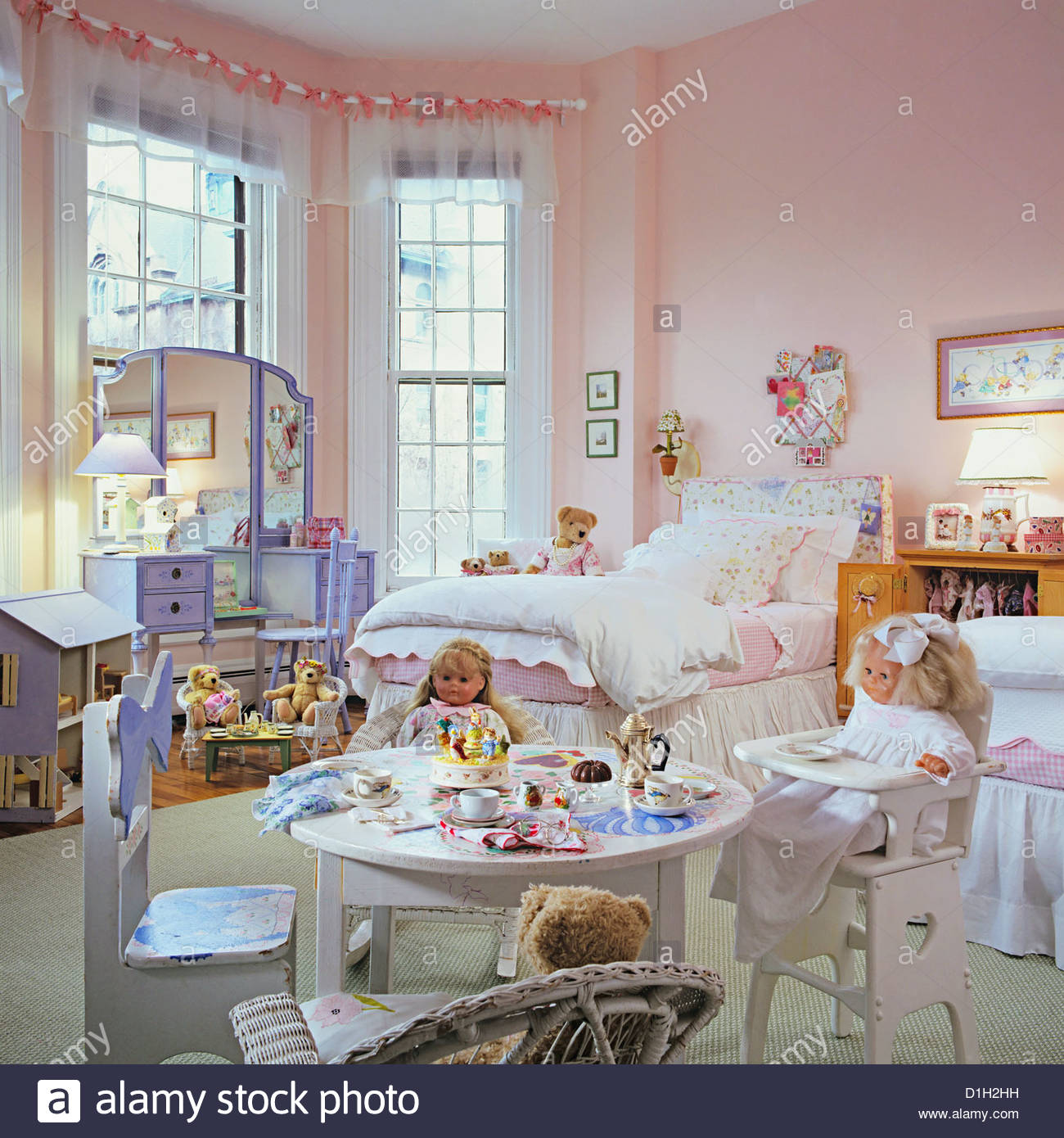 Pale Pink Bedroom Childrens Bedroom Girls Bedroom Dolls And Bears And A Tea Table