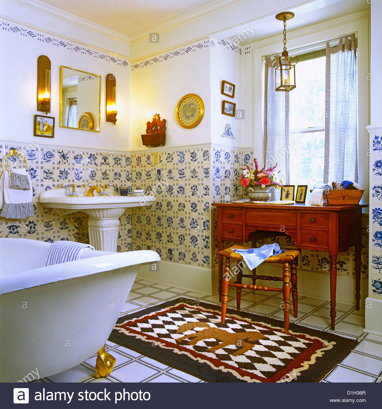 BATHROOMS Historic bathroom Blue and white Dutch tiles White textured pedestal sink on the left in background Blue red and. Bathrooms Historic Bathroom Blue And White Dutch Tiles White