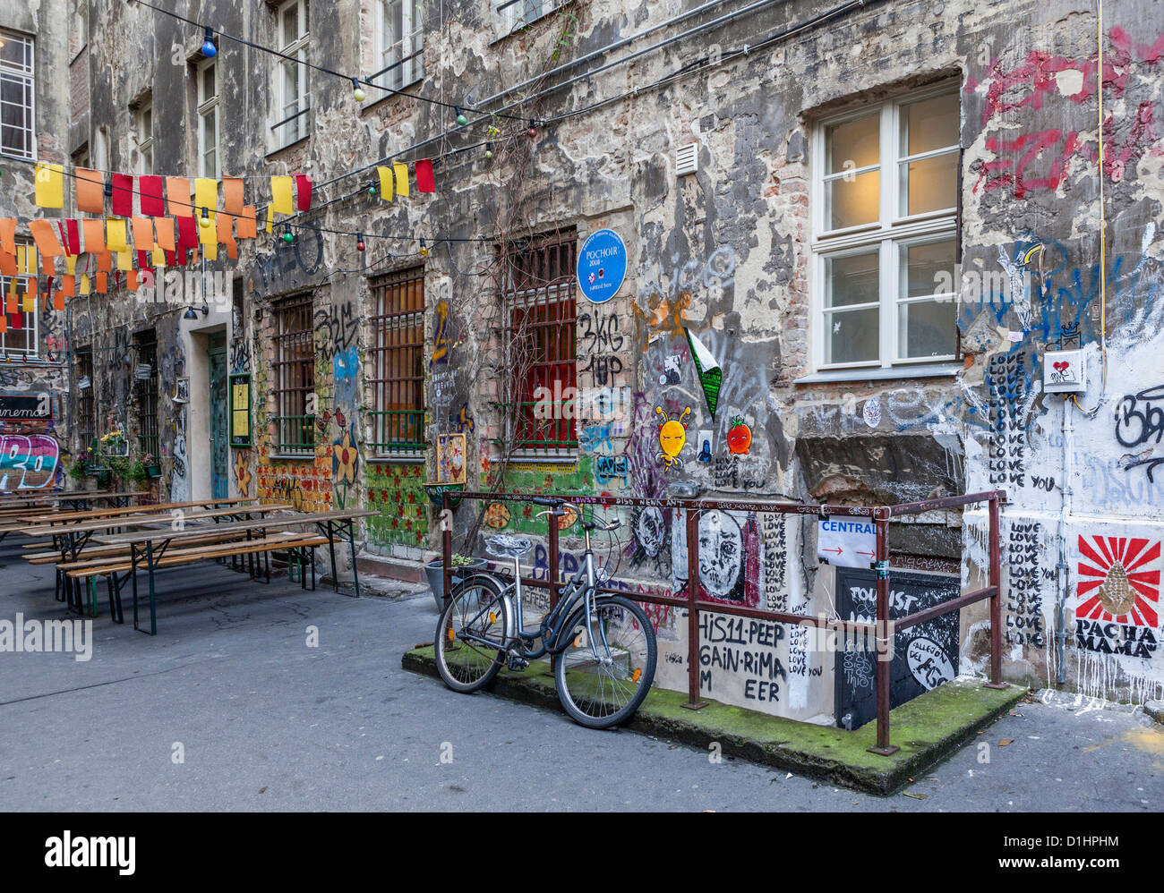 Graffiti and street art decorates the Inner Courtyard of