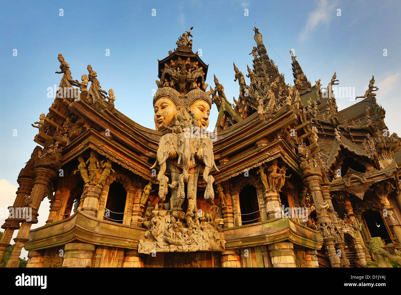 Wooden carving on the Sanctuary of Truth Temple, Prasat ...