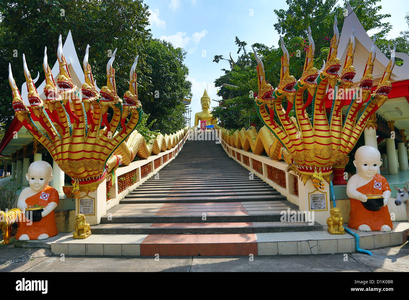 Big Buddha statue at Wat Khao Phra Bat in Pattaya, Thailand Stock Photo, Roya...