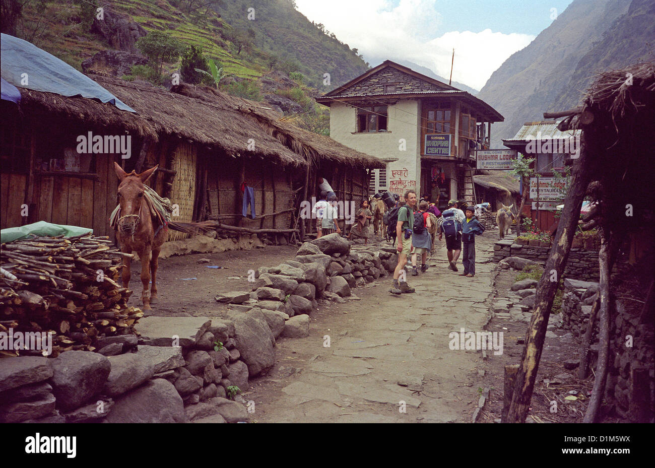 Village Of Jagat With Mule Tea House Lodge And Shopping