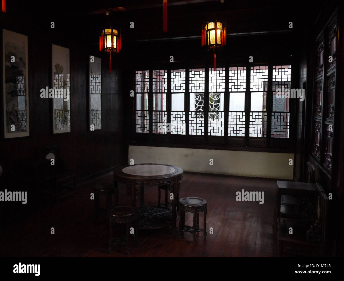 dark ancient retro old chinese living room stock photo, royalty
