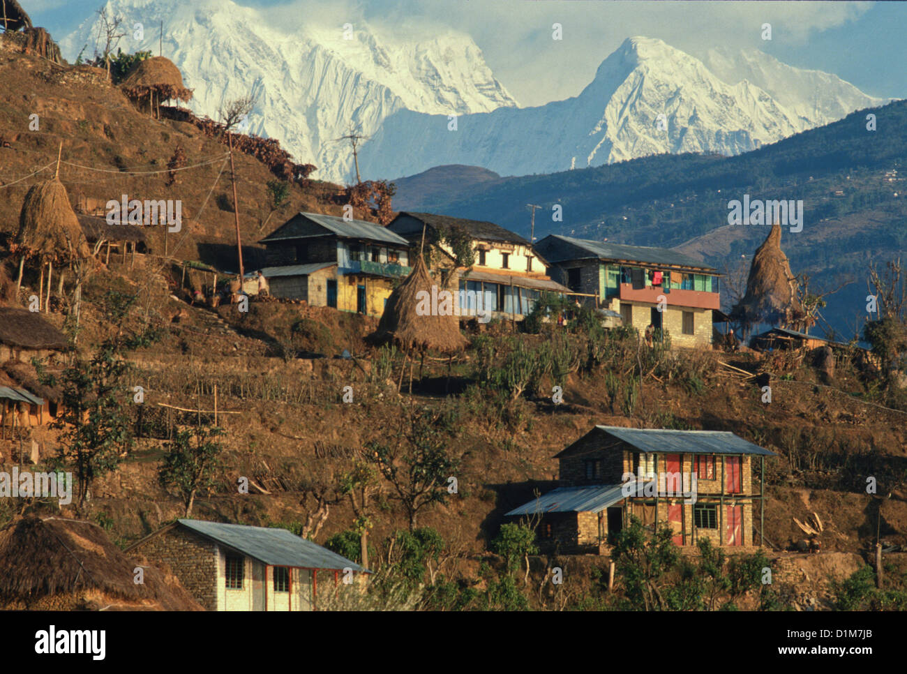 Houses On A Hillside In The Himalayan Region Near Pokhara
