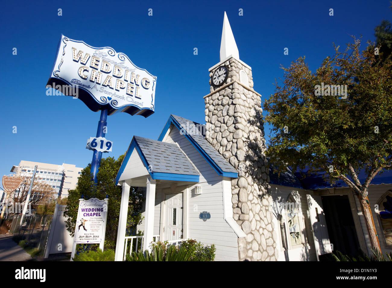 Graceland Wedding Chapel On The Downtown Strip Las Vegas Nevada USA