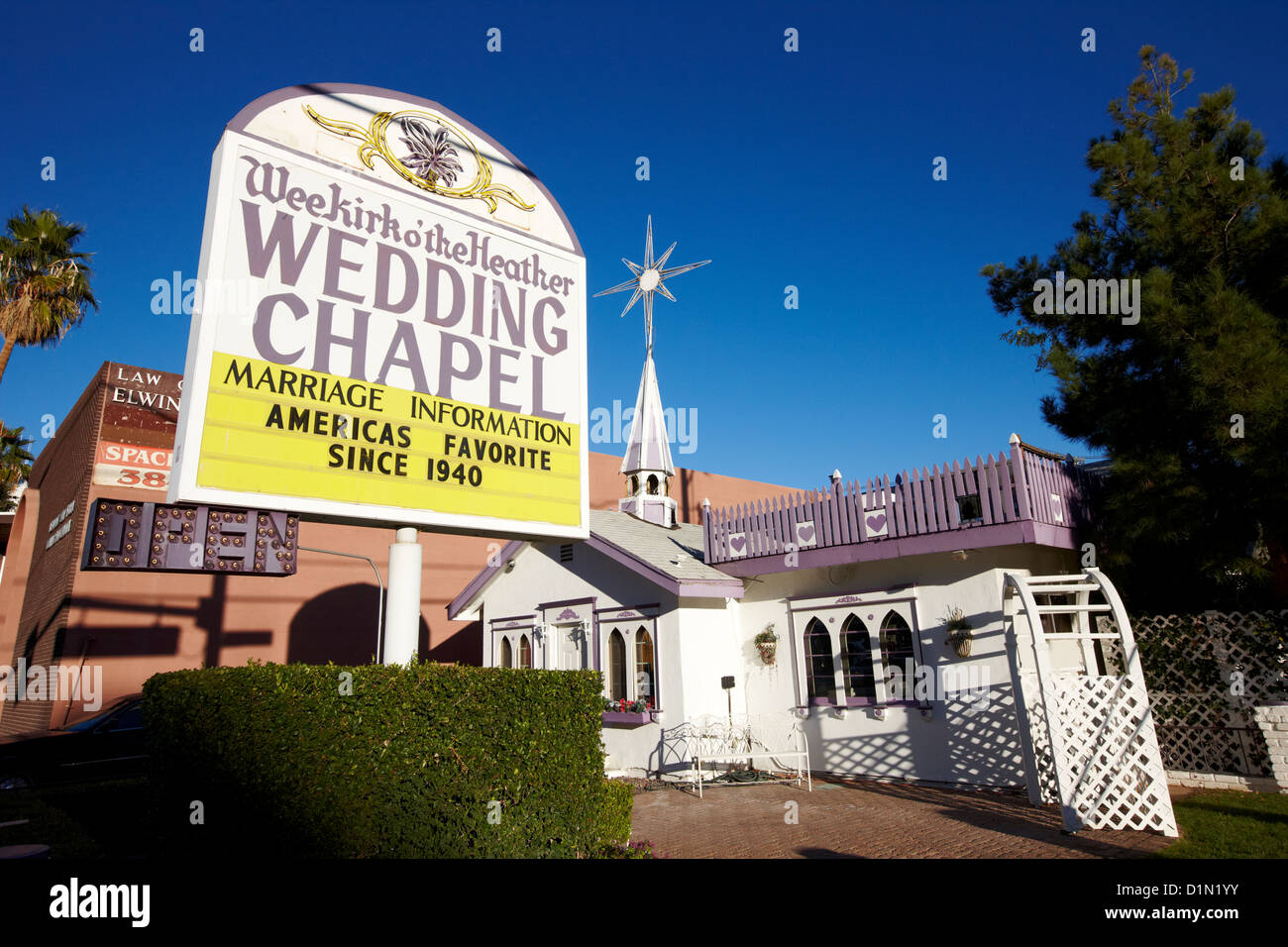 Wee Kirk O The Heather Wedding Chapel On Strip Las Vegas Nevada USA