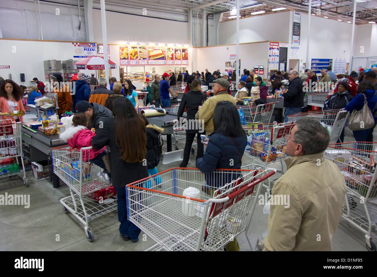 costco whole stock photos costco whole stock images alamy costco shoppers lined up at checkout lanes stock image