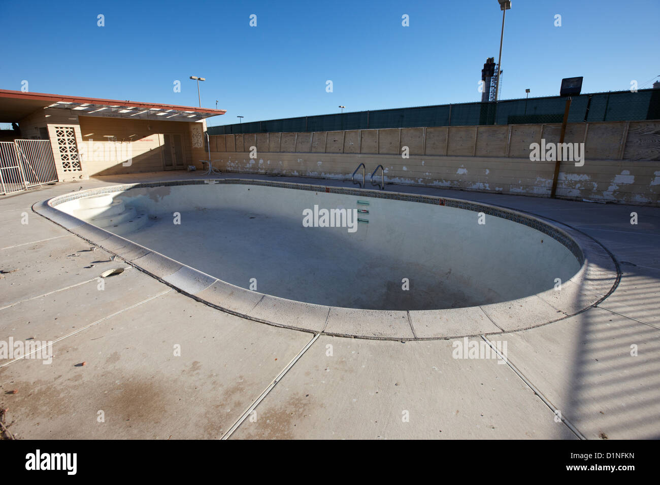 Empty abandoned swimming pool at old motel on the strip for Disused swimming pools