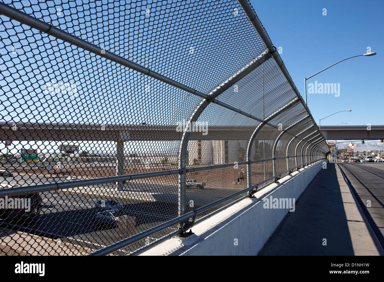 Safety Chain Link Fence Screen And Walkway Over I 15