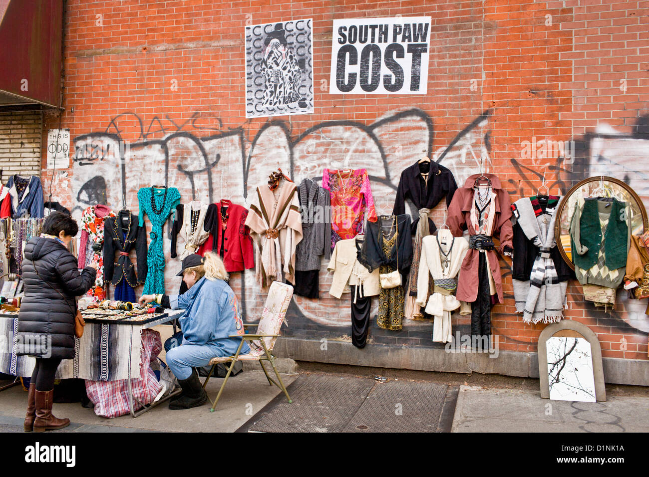 Vintage clothing for sale outdoors in Williamsburg, Brooklyn, New ...
