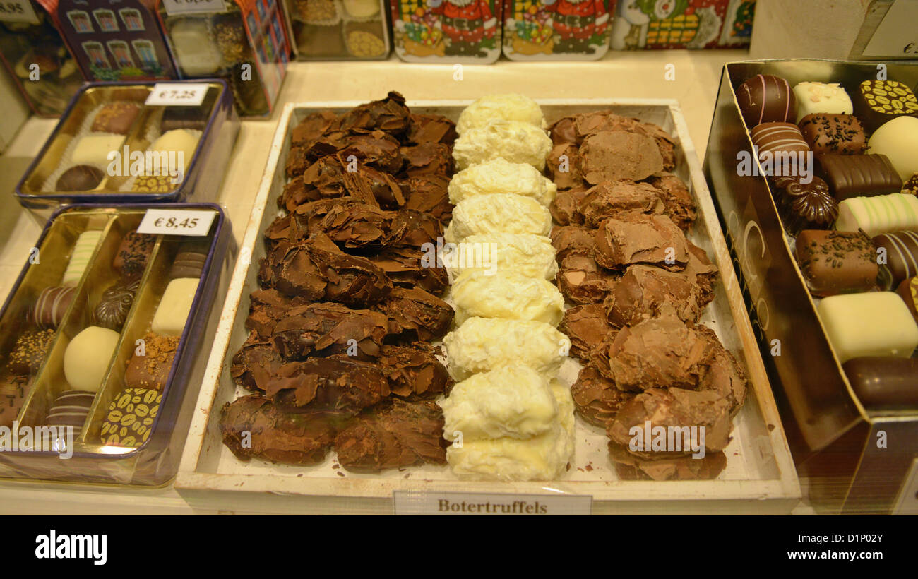 Belgium chocolate in Chocolatier window in Historic Centre of ...