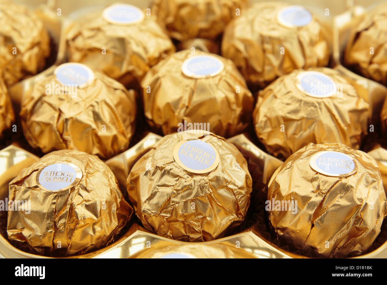 Ferrero Rocher luxury chocolates in gold foil wrapping. England UK ...