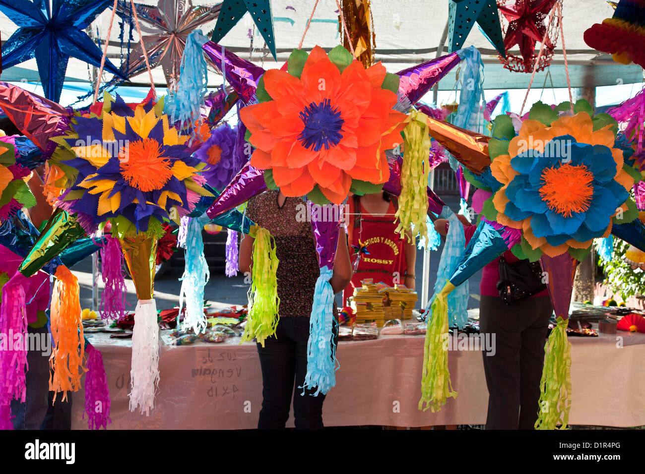 Traditional mexican christmas decorations - Beautiful Vividly Colored Pinatas Other Christmas Decorations For Sale In Courtyard Of La Merced Market