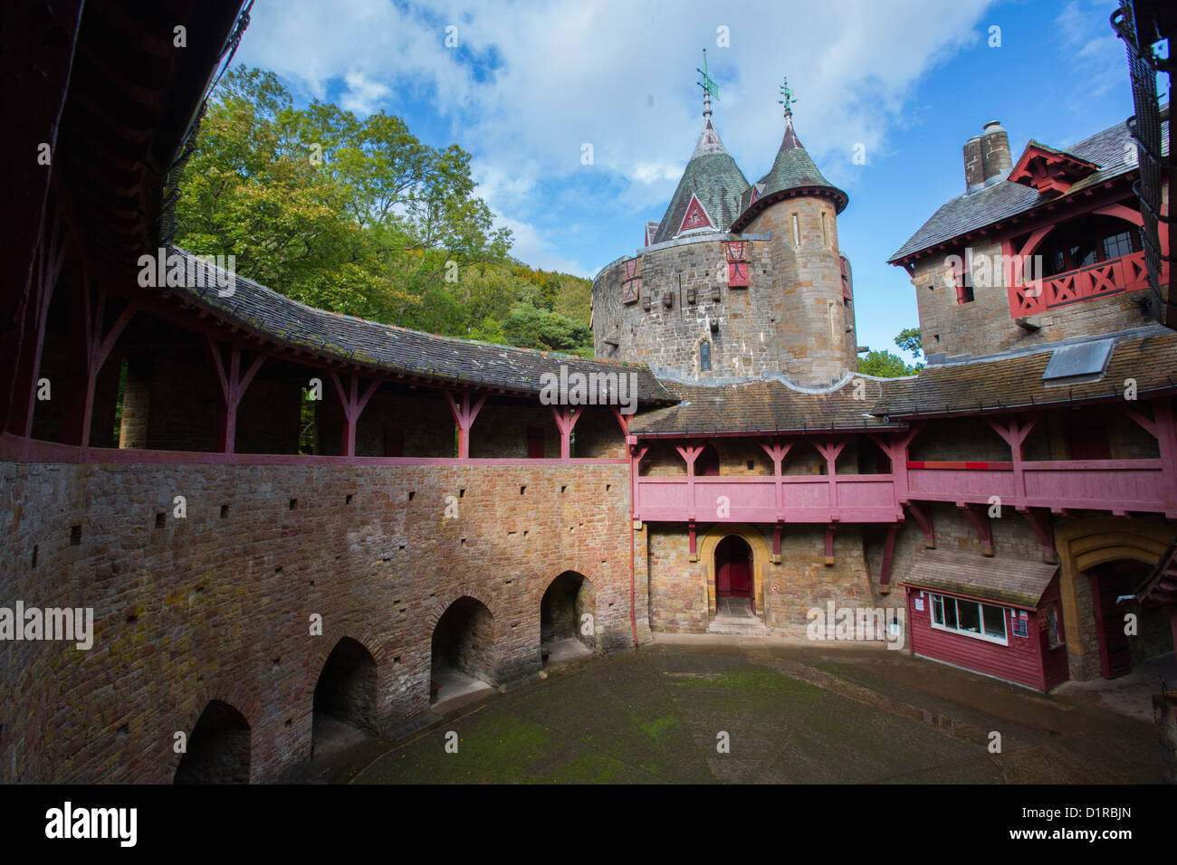 interior courtyard view of castell coch (red castle) near cardiff