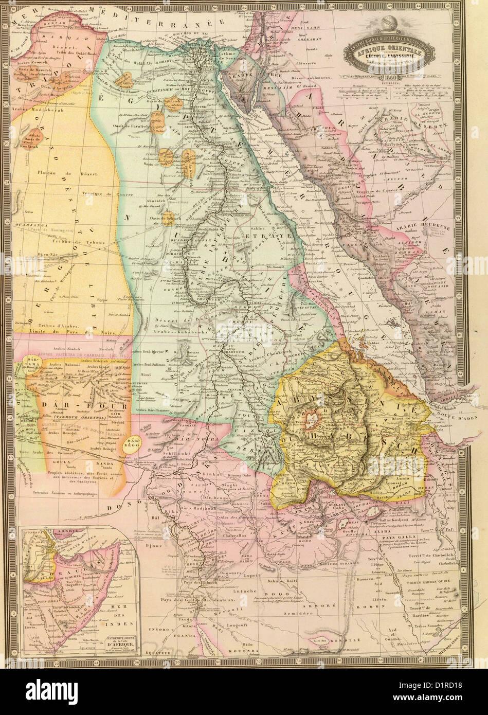 Egypt Tripoli Sudan Abyssinia Saudi Arabia Palestine Africa - Vintage map of egypt