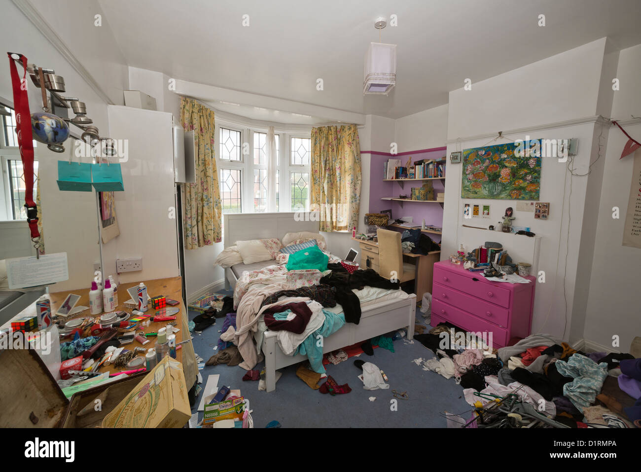 Teenage girls untidy bedroom Stock Photo, Royalty Free ...