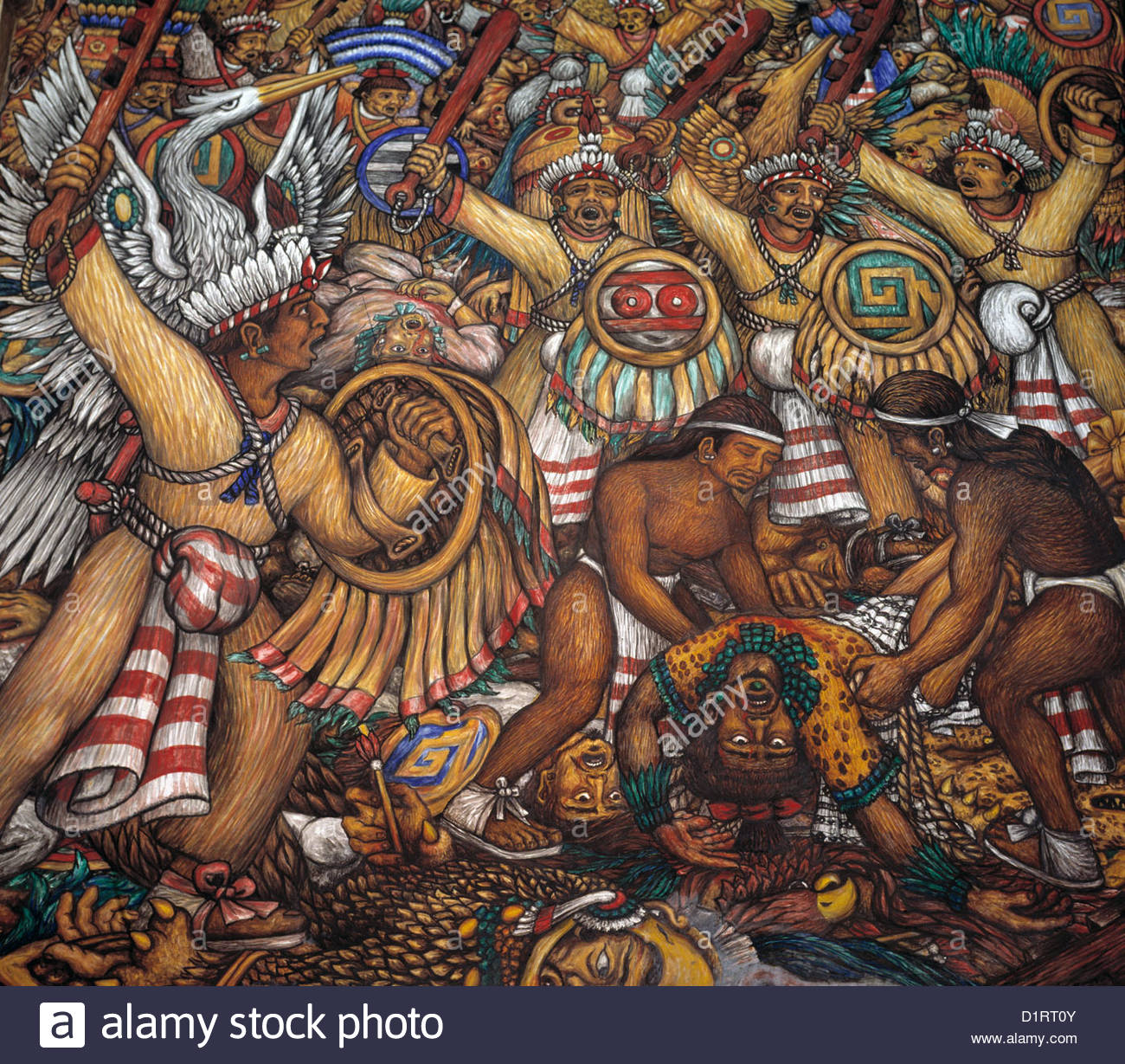 Mexico mural painting by desiderio xochitiotzin government for Aztec mural painting