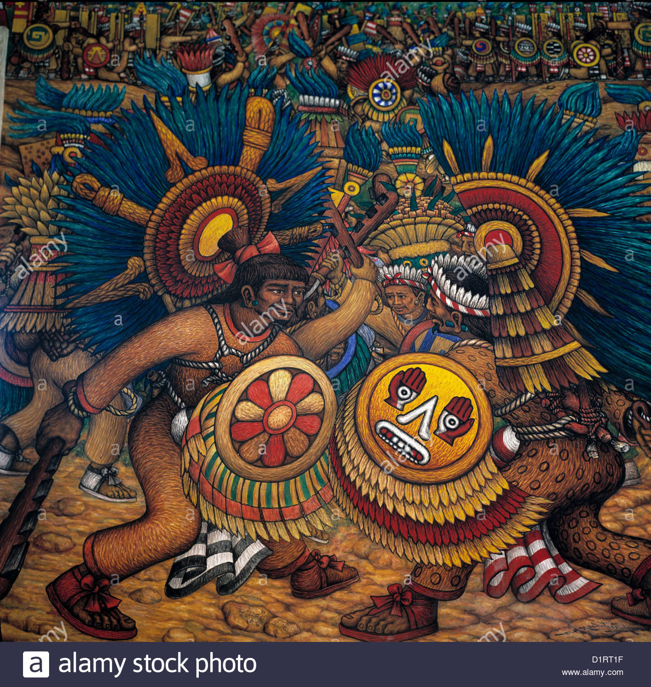 Mexico mural by desiderio xochitiotzin government palace for Aztec mural painting