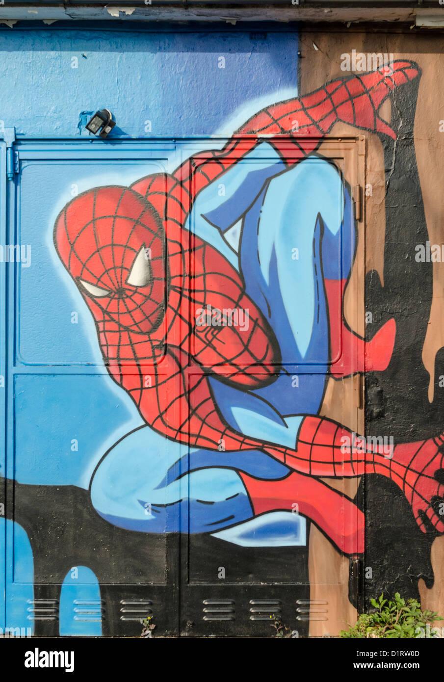 Spiderman graffiti mural stock photo royalty free image for Graffiti mural