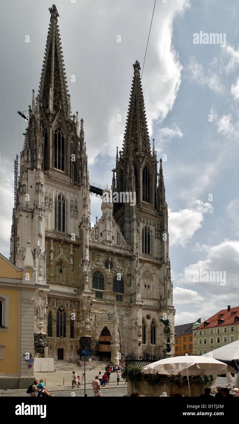 regensburg germany st peter 39 s cathedral with the cathedral square stock photo royalty free. Black Bedroom Furniture Sets. Home Design Ideas