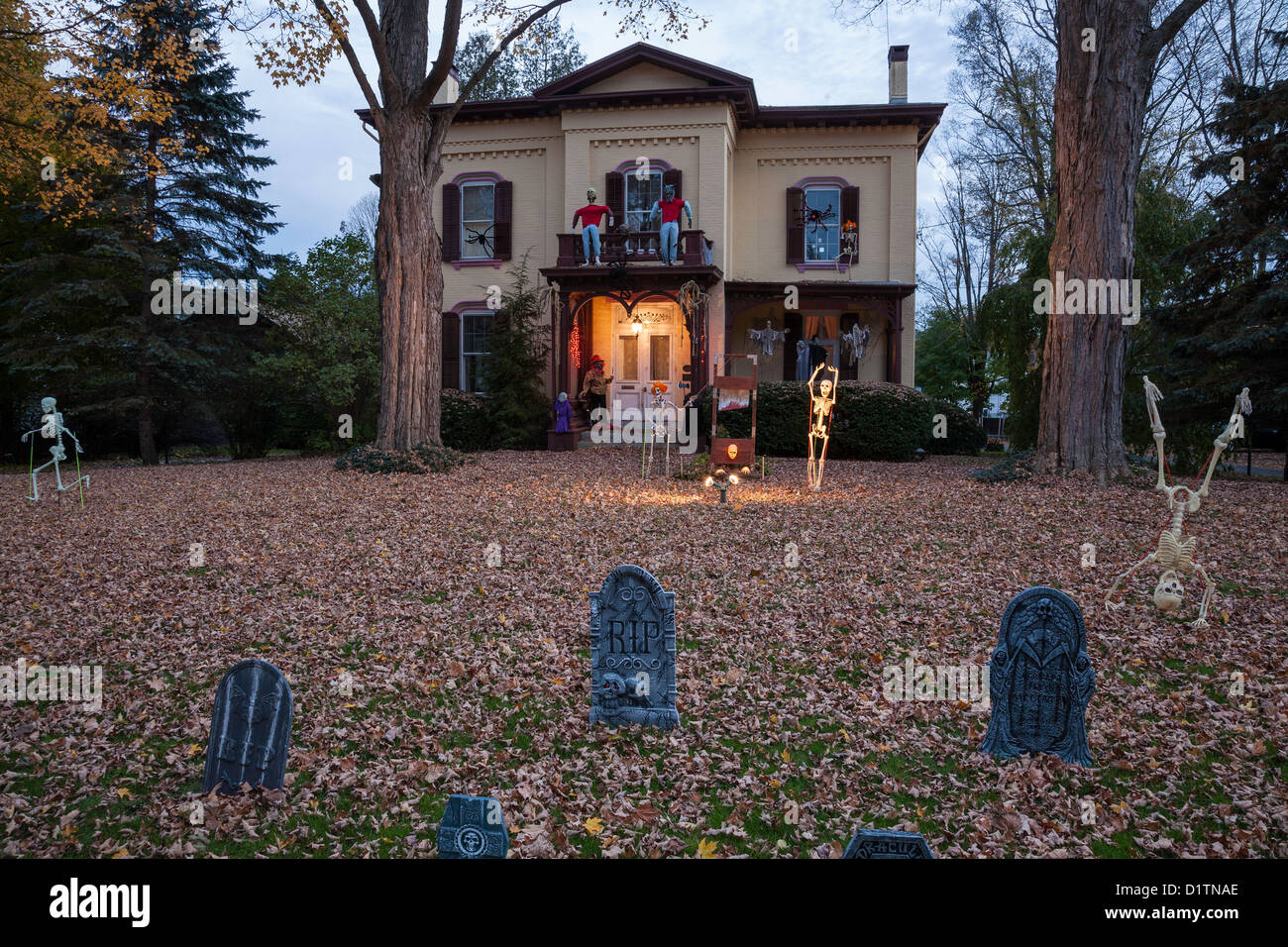 halloween decorations at dusk two story showcase home usa