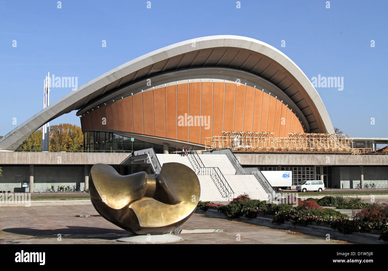 Berlin germany the house of world cultures and the large butterfly sculpture by henry moore