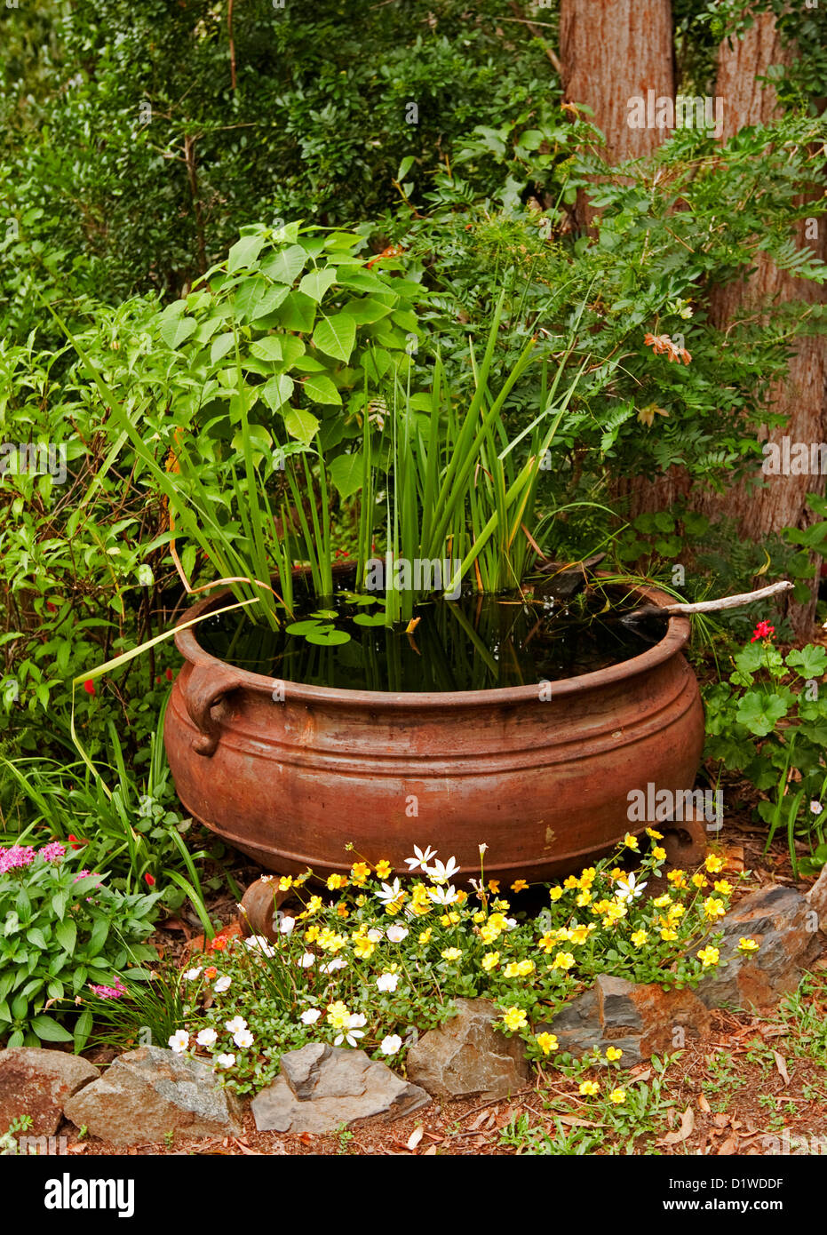Large rusty cauldron fish pond garden water feature for Large outdoor fish ponds