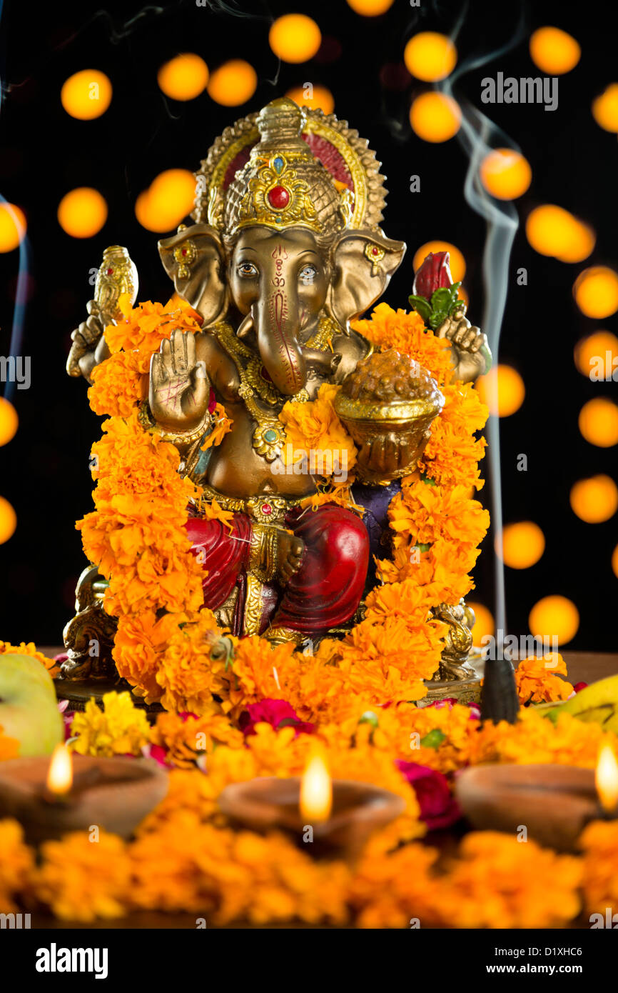 Religious offerings in front of the idol lord ganesha at