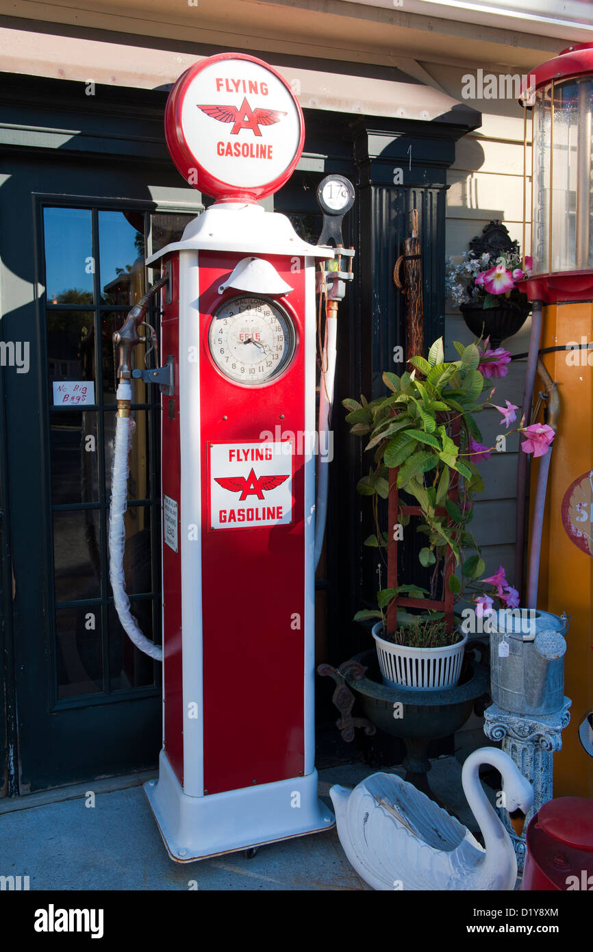 Vintage Flying A Gas Pump For Sale Outside An Antique