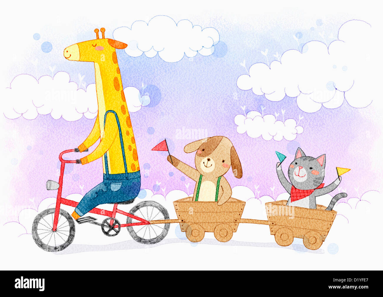 illustration of a giraffe riding a bike pulling dog and cat in
