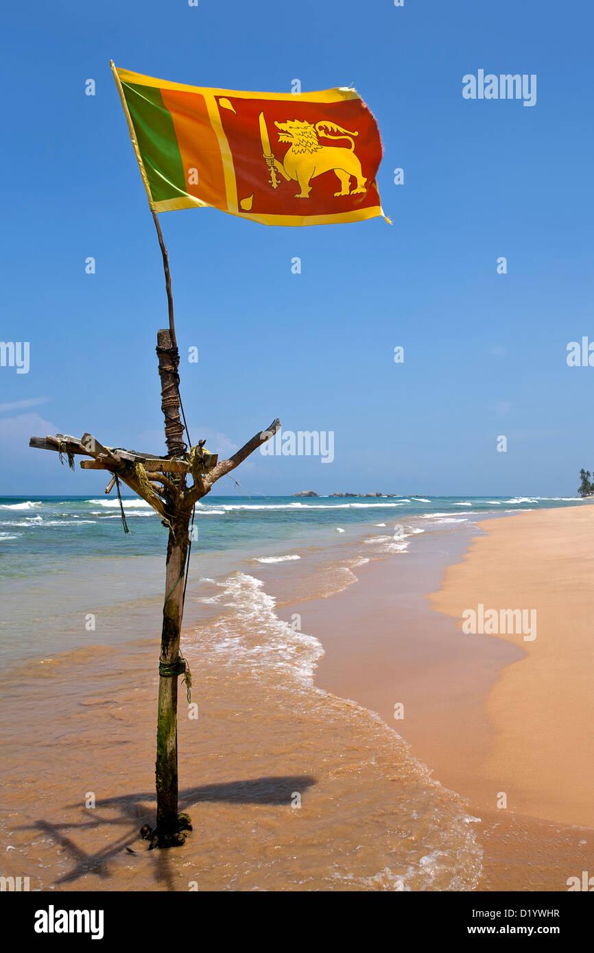 Around Hikkaduwa: Sri Lanka Flag. Hikkaduwa Beach. Sri Lanka Stock Photo