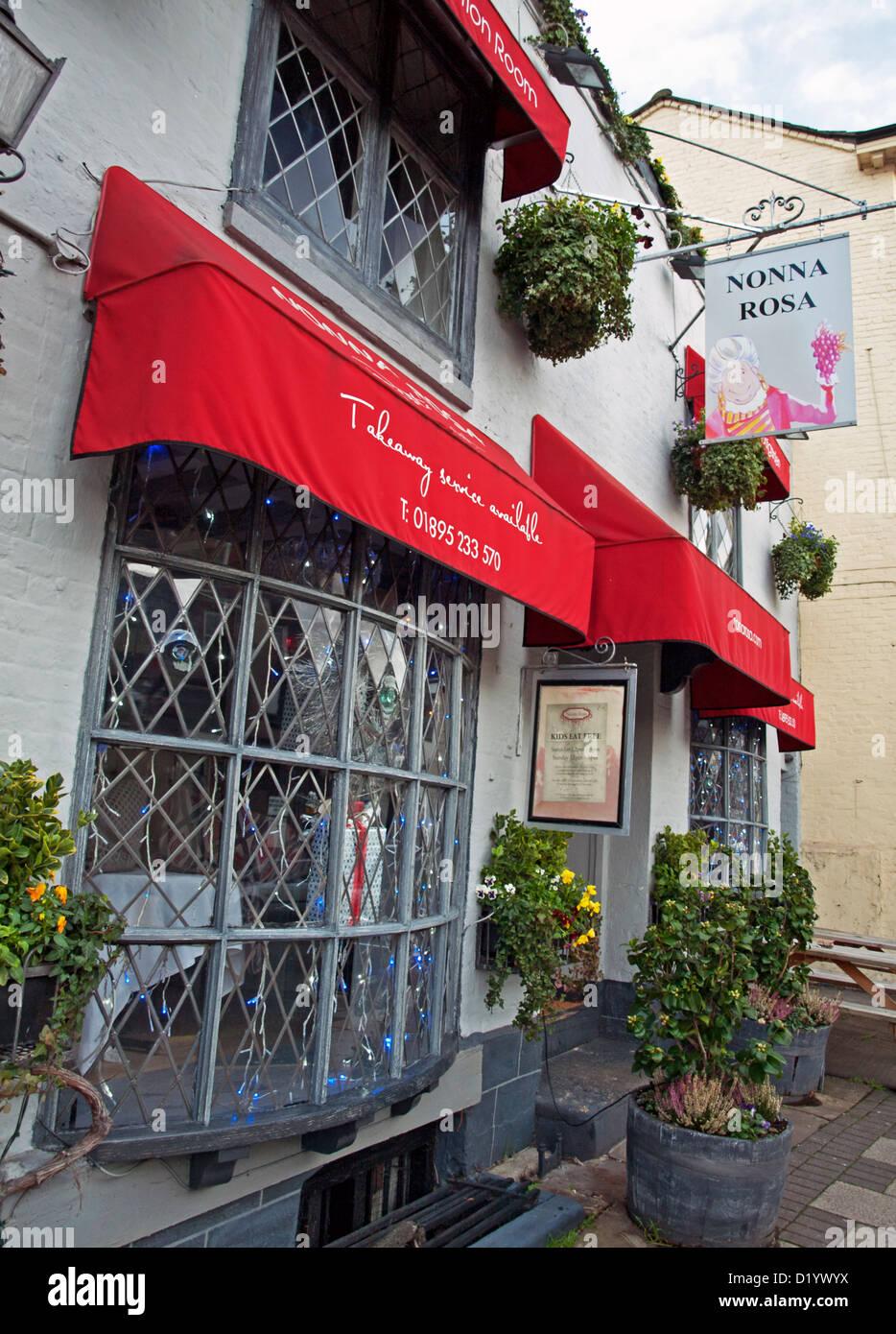 Italian restaurant exterior - Exterior Of Italian Restaurant High Street Uxbridge Middlesex England United Kingdom