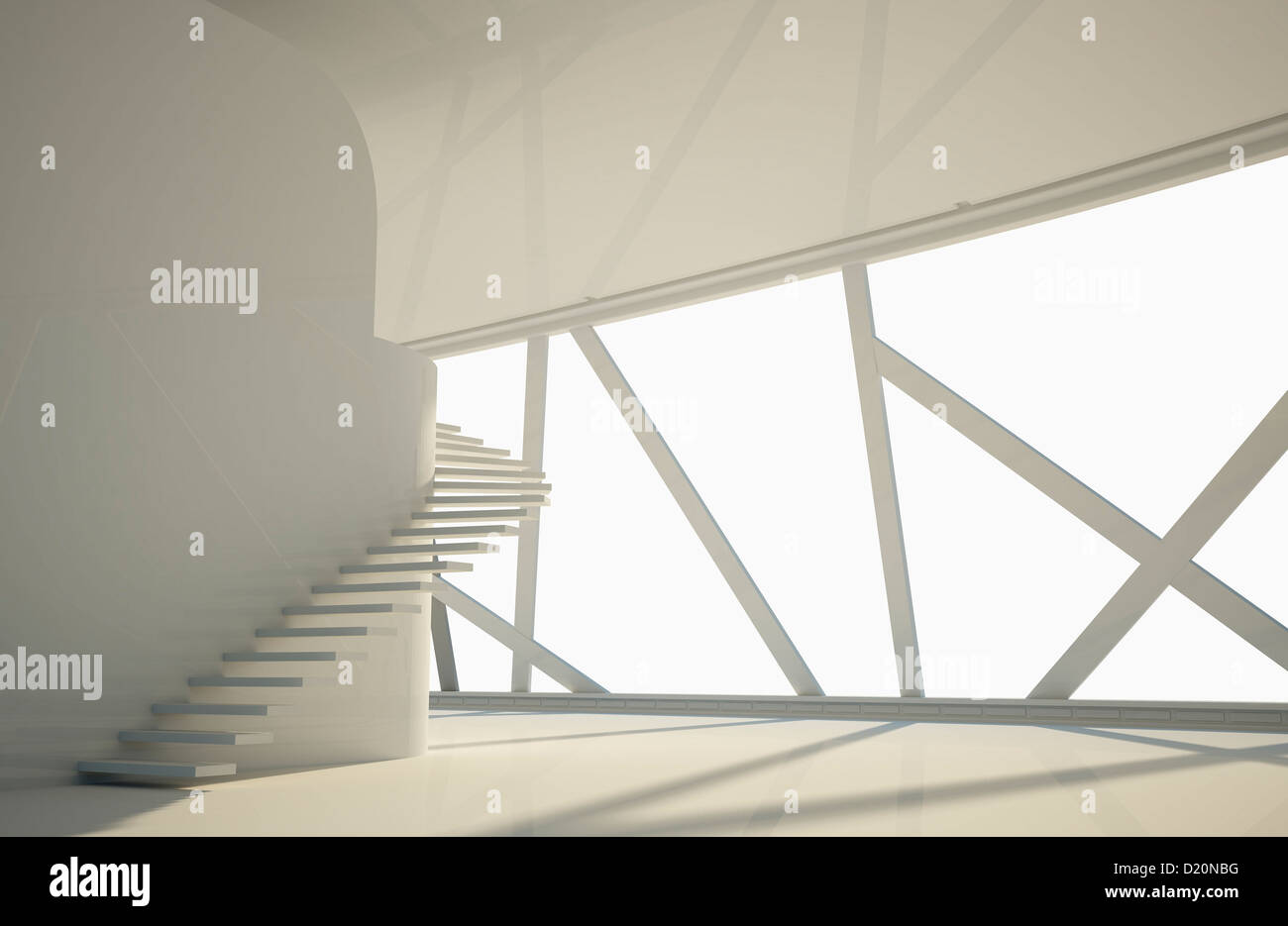 Modern interior of a floor with stairs and unique window for Unique window designs