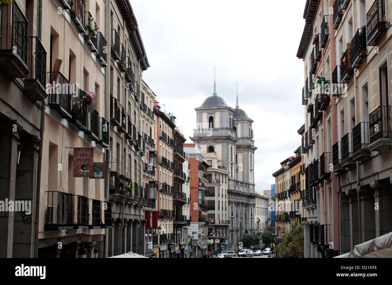Spain Madrid View Of Calle Mayor And Puerta Del Sol