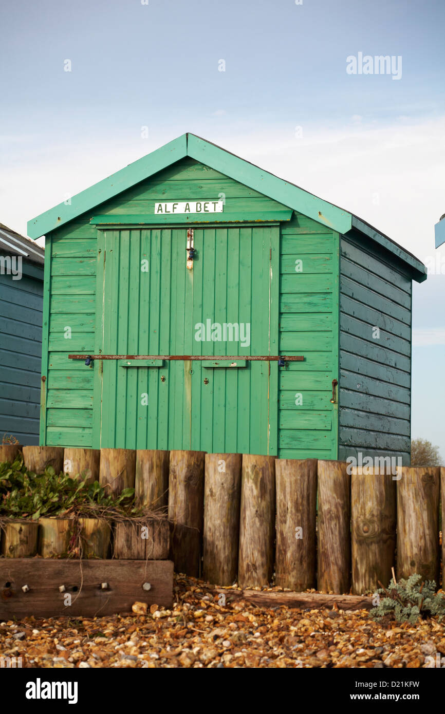 Detail of Alf a Bet green beach hut at Calshot, Hampshire in ...