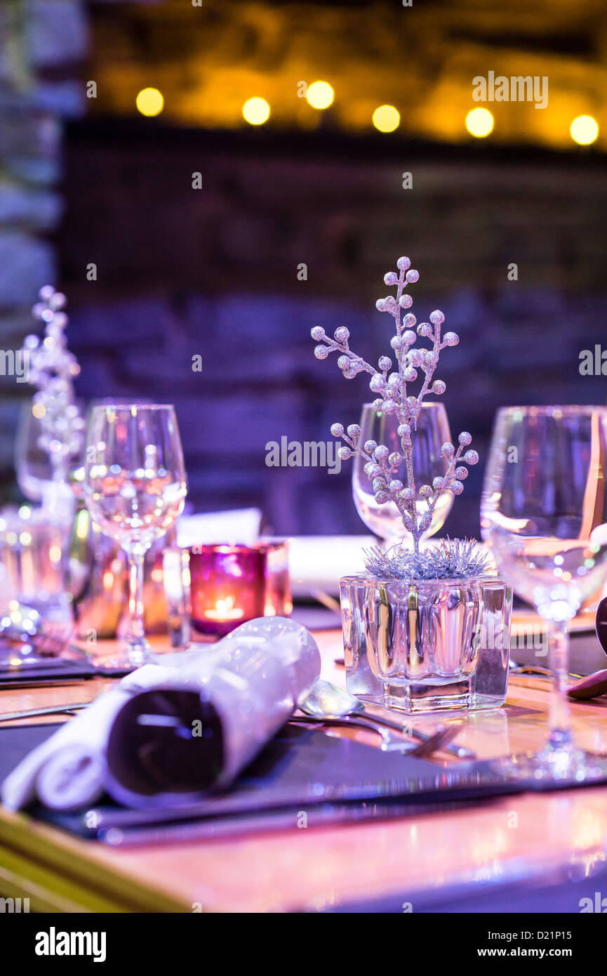 Shallow depth of field a restaurant table set with decorations