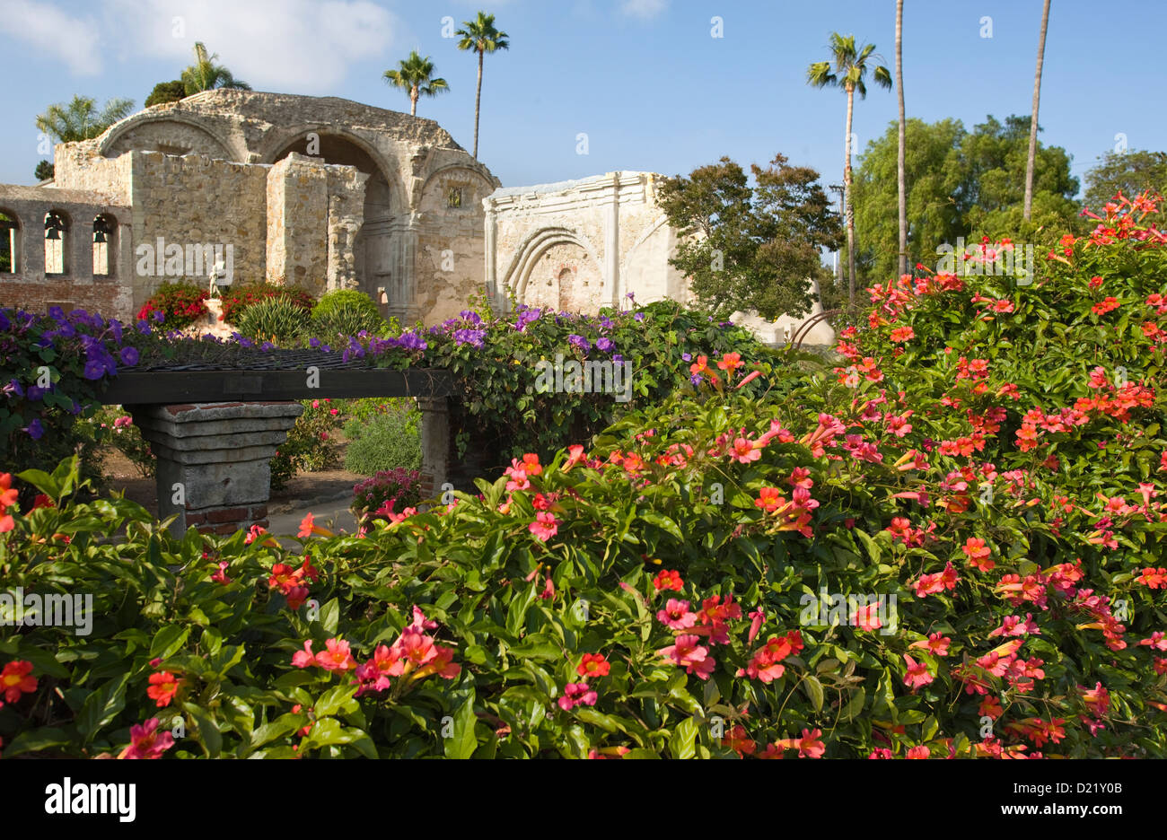 Wonderful FLOWERS ON GARDEN GREAT STONE CHURCH RUINS MISSION SAN JUAN CAPISTRANO ORANGE  COUNTY CALIFORNIA USA