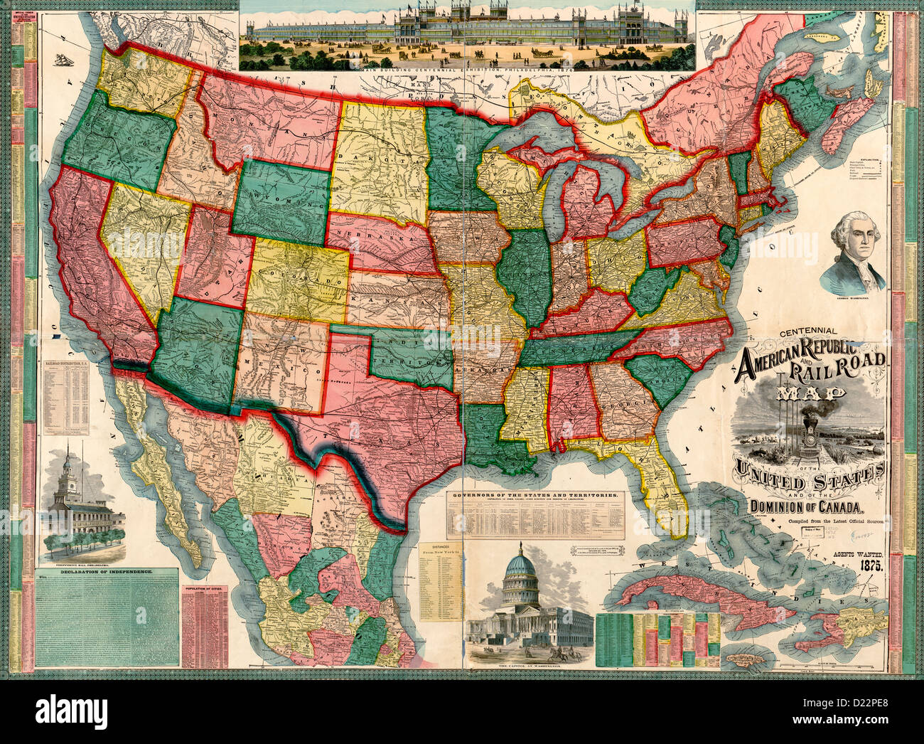 centennial american republic and railroad map of the united states and of the dominion of canada 1876