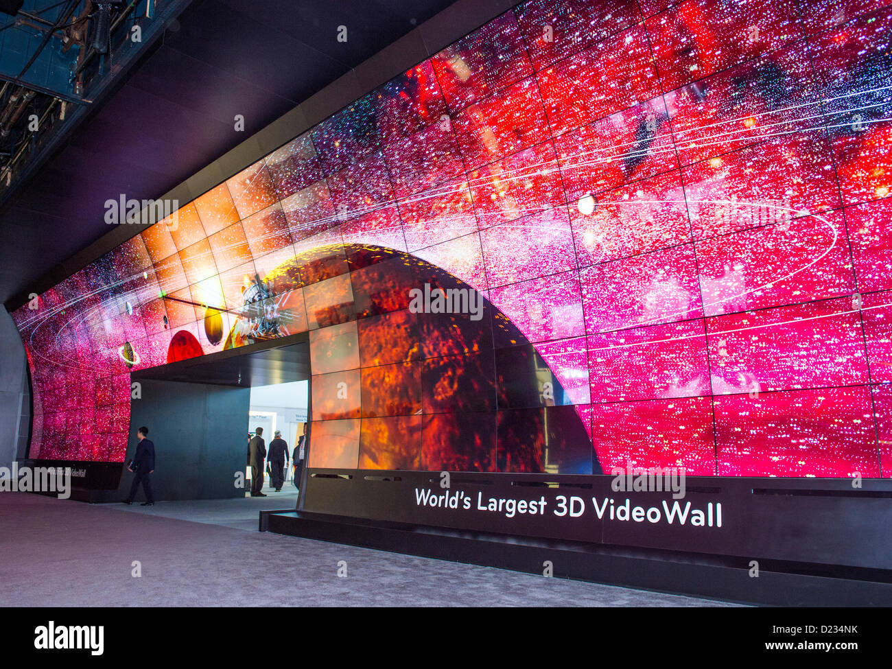 3d video wall at the lg booth at the ces show held in las vegas on stock photo royalty free. Black Bedroom Furniture Sets. Home Design Ideas