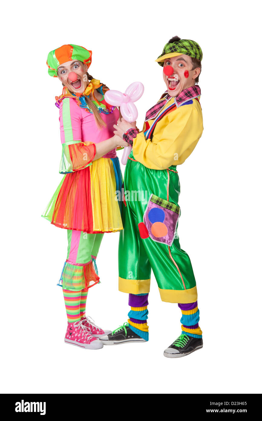 couple of happy clowns isolated on white stock photo royalty